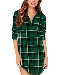 0196d53bd0510 ZANZEA Women Blouses Tops Buffalo Check Plaid Long Sleeve Collar Neck  Casual Button Down Shirts