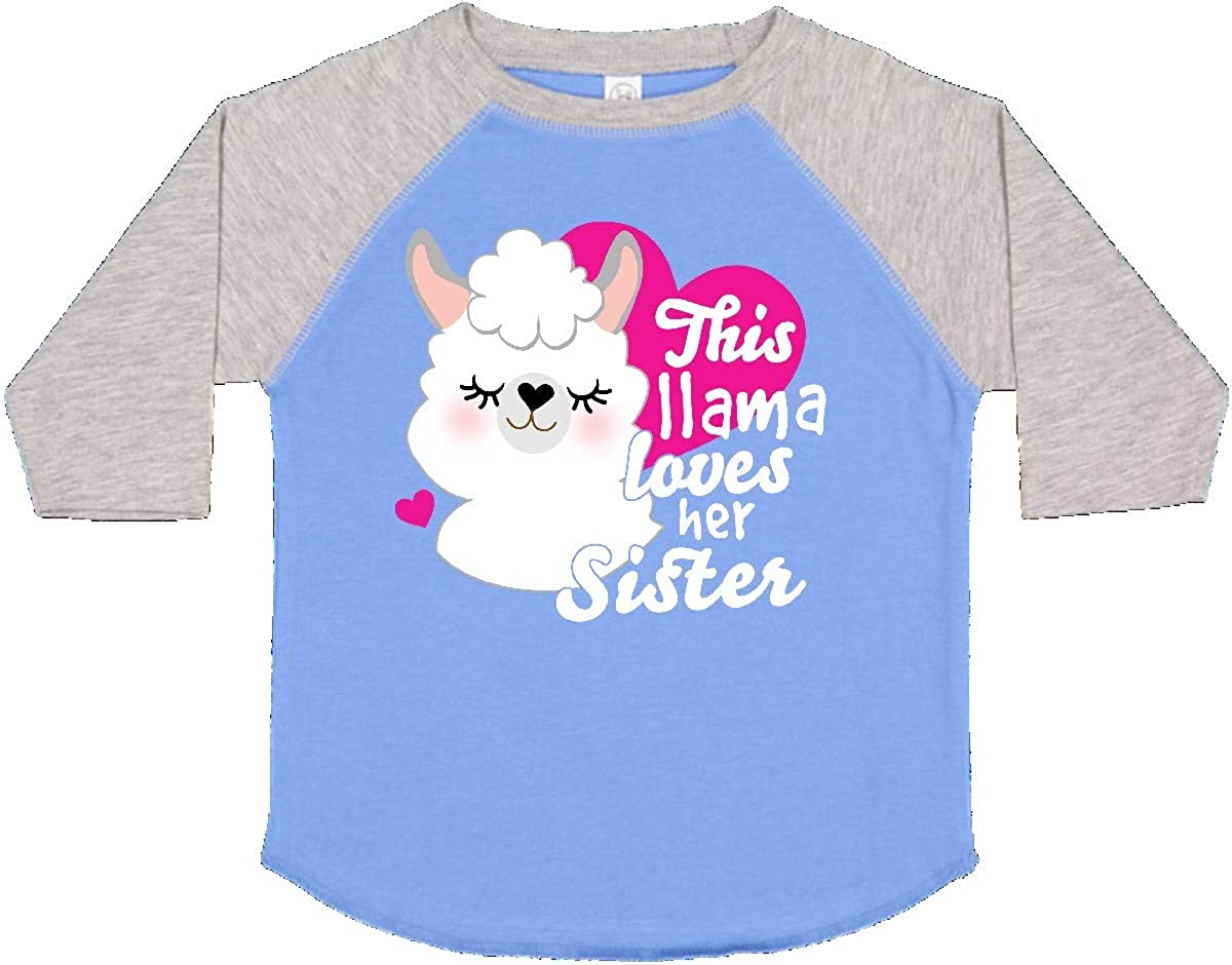 inktastic Valentines Day This Llama Loves Her Sister Toddler T-Shirt