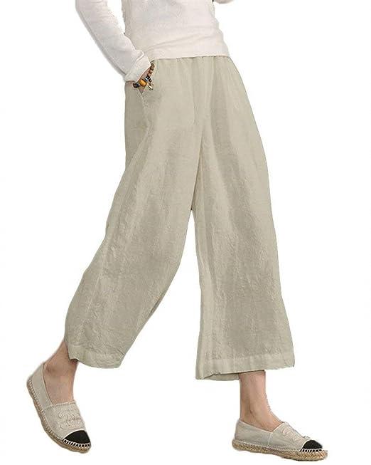 bec90927e HaiDean Pantalon Lino Mujer Elastische Taille Color Sólido Pierna Ancha 7 8  Pantalones Vintage Elegantes Cómodo Modernas Casual Anchas Pantalones  Palazzo ...