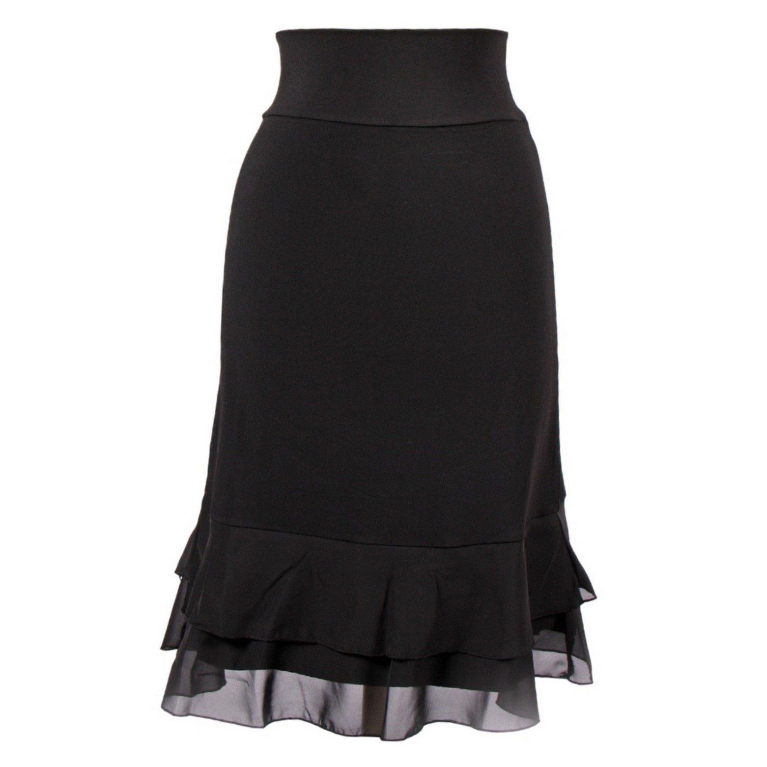 Peekaboo-Chic Iris Chiffon Half Slip Skirt Extender (Black, l/XL)