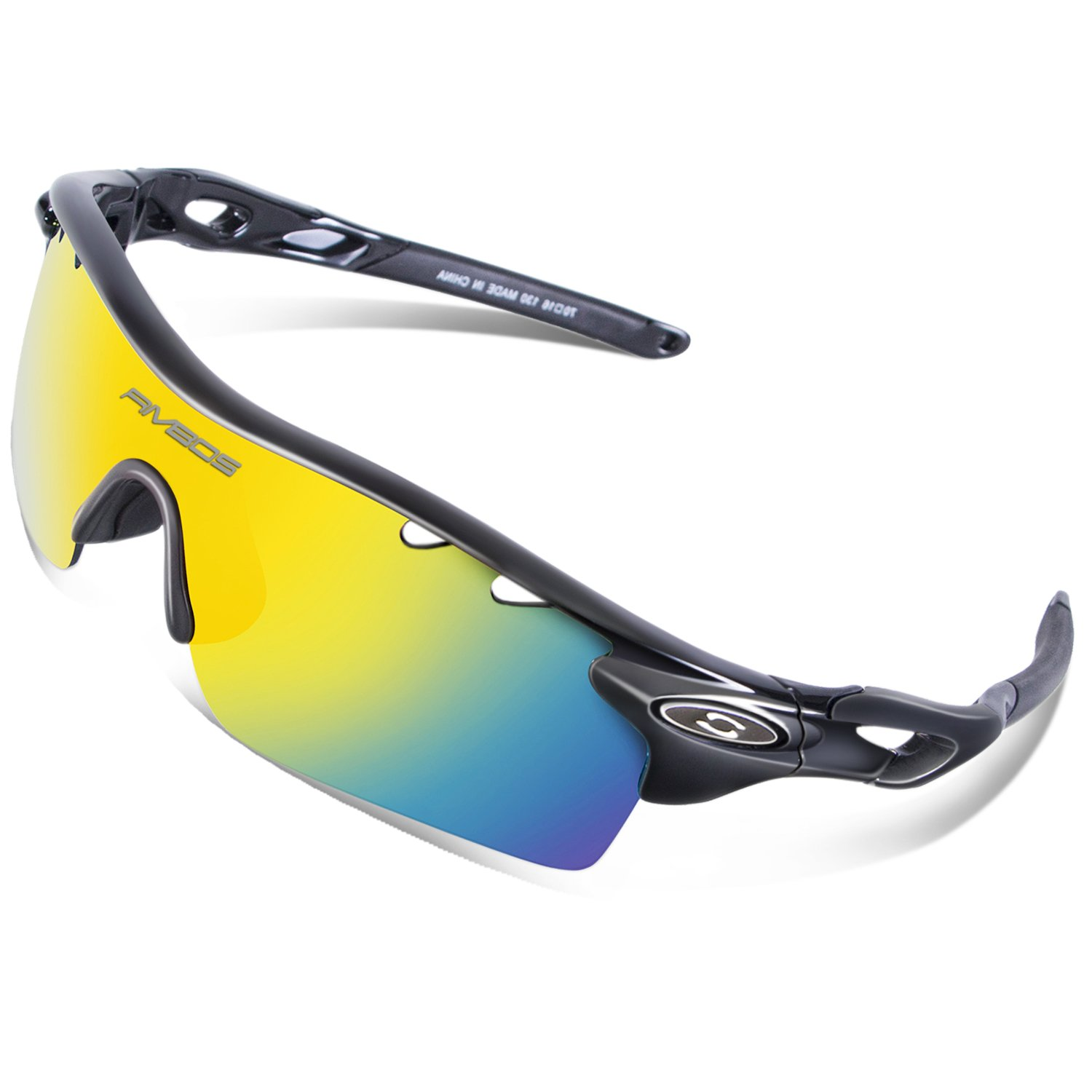 603fcb93f99 Details about RIVBOS 801 TR 90 Polarized Sports Sunglasses Sun Glasses with  5 Interchangeable