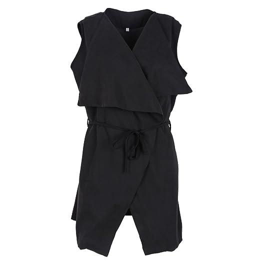 87dbf1ec5d4e76 Desirca Women Coat Sleeveless Waterfall Cape Long Jacket Coat Windbreak  Black S