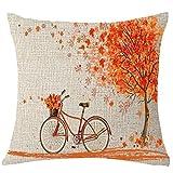 Naladoo Happy Autumn Tree Maple Leaf Bicycle Painting Pillowcase Sofa Seat Cushion Cover Cotton Linen Pillowslip Square Throw Pillow Cover European Home Decor 18''X 18''