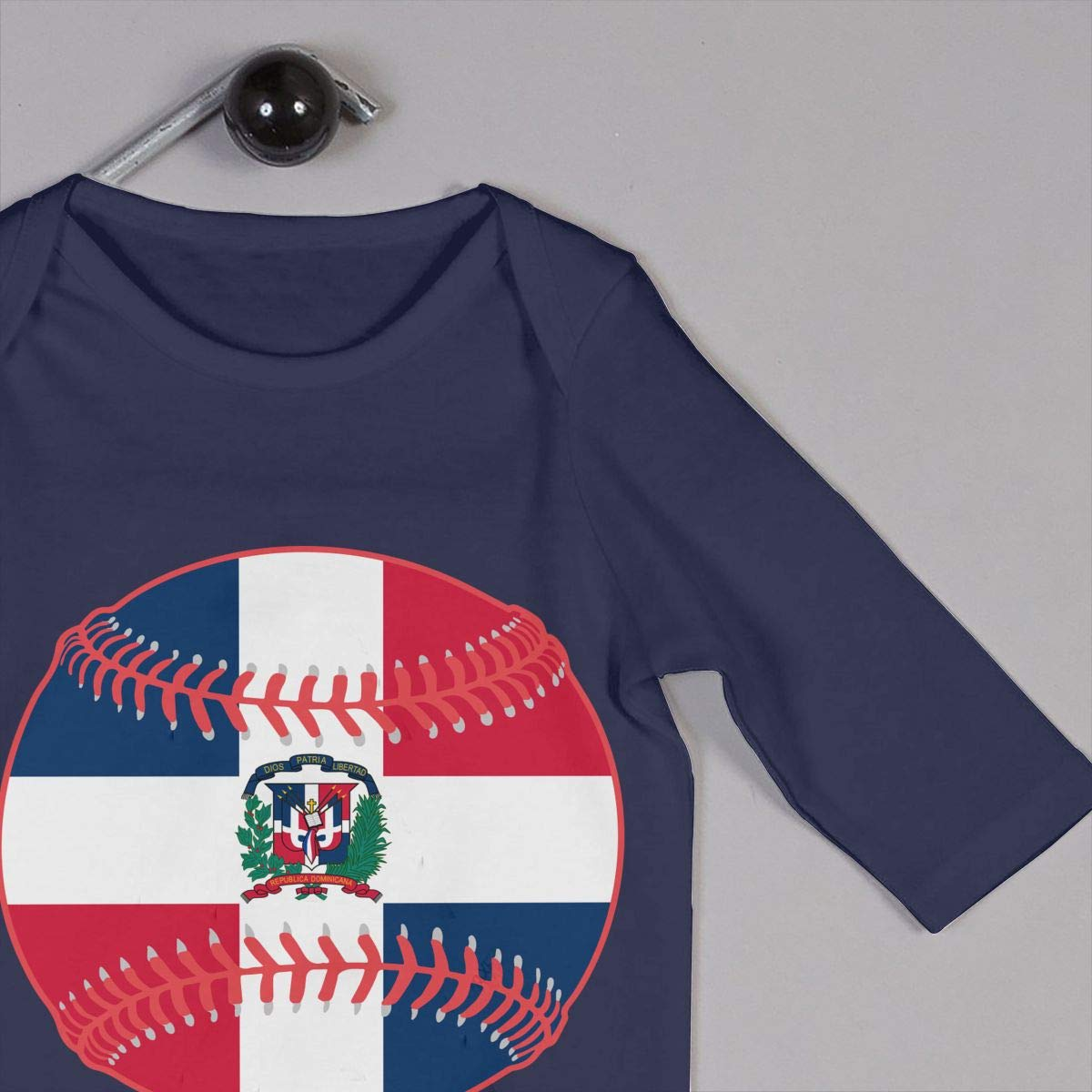 Mri-le1 Baby Girl Long Sleeved Coveralls Dominican Republic Flag Baseball Clipart Baby Rompers