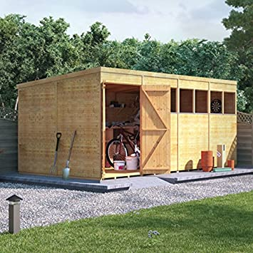 BillyOh - Cobertizo de madera para jardín, doble puerta, con ventana, fieltro para techo: Amazon.es: Jardín