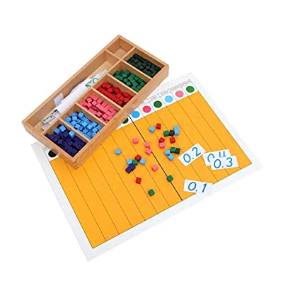 Montessori Math Mathematics Teaching Materials Semester Education Wooden Toys Decimal Fraction Exercise and Decimal Fraction Board Dot Exercise (Decimal Fraction Exercise and Board): Toys & Games
