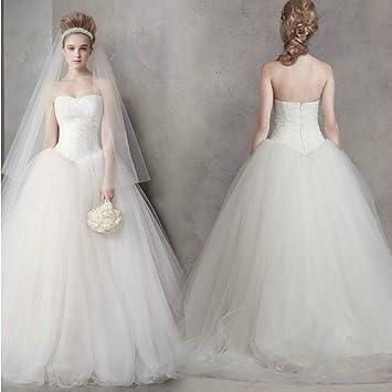 AN Vestido de boda clásico simple sueño princesa moda vestido de novia ,blanco,S
