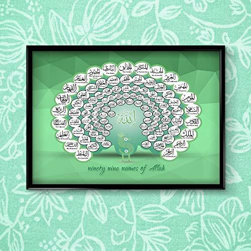 Stukk Stickers 99 Name of Allah Islamic Arabic Around Green Peacock English Poster Print Wall