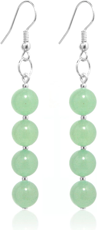 2LIVEfor - Pendientes verdes colgantes, aventurina, piedra natural, color verde, perlas verdes plateadas