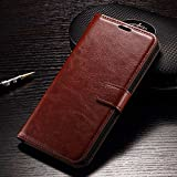 Febelo Premium Quality PU Leather Magnetic Lock Wallet Flip Cover Case for Xiaomi Redmi Note 4 (2017) - Brown Color
