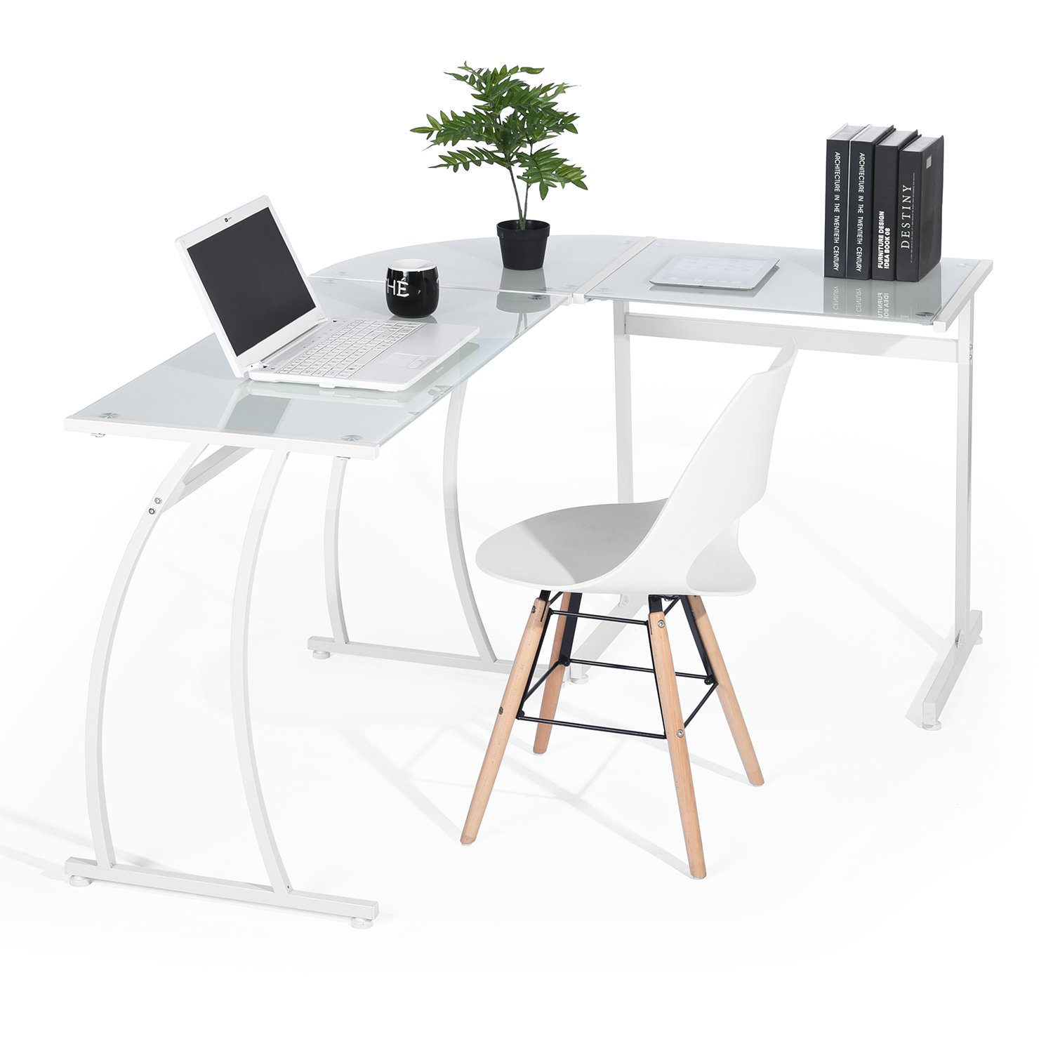 GreenForest Office Desk L Shape Corner Computer PC Table Workstation 3-Piece for Home,Switch 2 Sides,White with White Glass