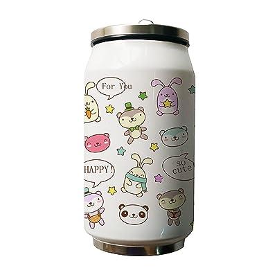 Okoukiu Happy Dessin animé Animal Adorable Motif double Thermos en acier inoxydable Bouteille d'eau, 500ml