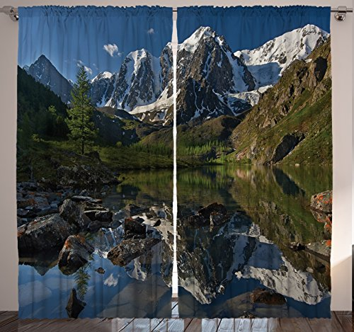 Window Curtains Nature Decor by Ambesonne, Wildlife Snowy Mountains Lake Spring Landscape River Scenery Picture, Drapes 2 Panels Set for Living Room Bedroom, 108 X 90 Inches, Blue Green and White