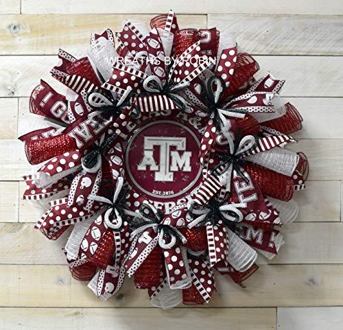 Texas College Wreaths, Texas A&M Wreaths, Deco Mesh Wreath, Aggies decor, ATM wreath, (3856)