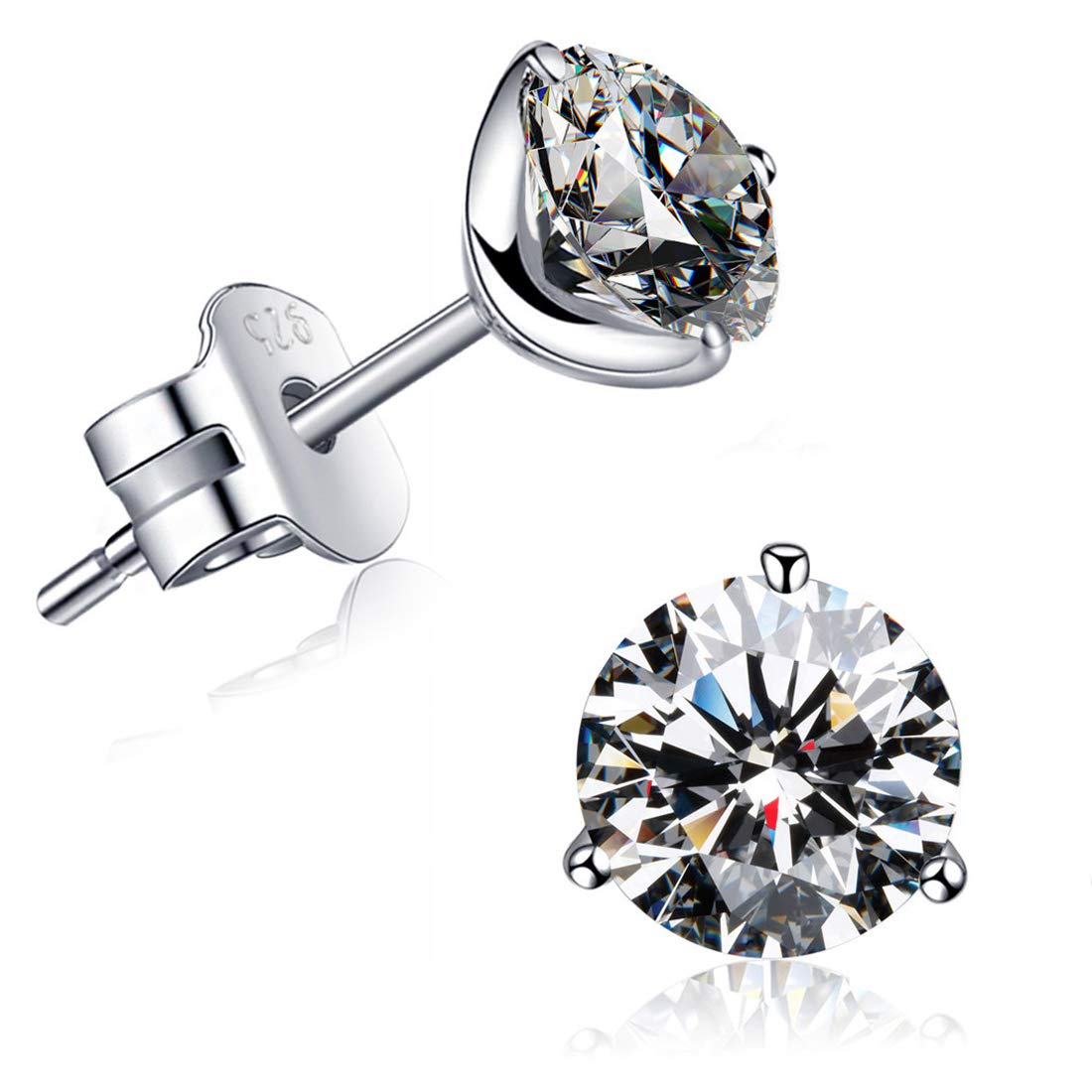 ''STUNNING FLAME'' 18K Gold Plated Silver Brilliant Cut Simulated Diamond CZ Stud Earrings (white-gold-plated-sterling-silver, 1.0)