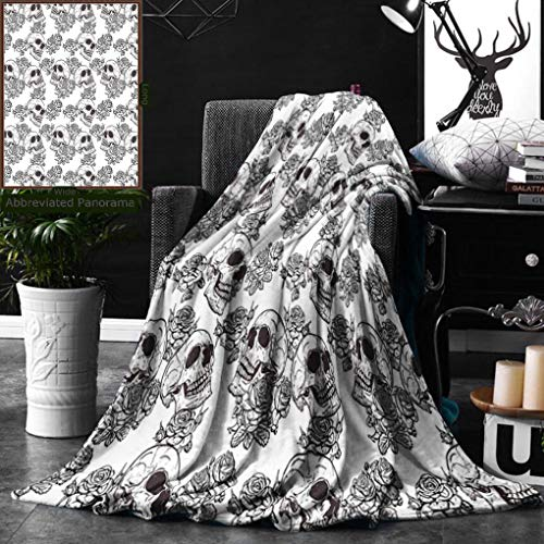 Unique Custom Double Sides Print Flannel Blankets Skull Decorations Blooms Retro Otherworld Textured Western Celtic Halloween Horror Ima Super Soft Blanketry for Bed Couch, Twin Size 60 x 80 -