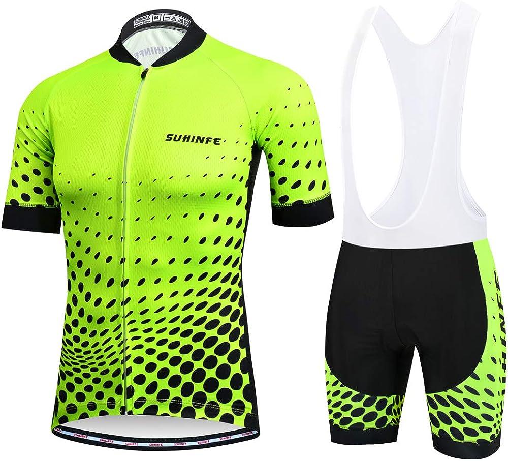 SUHINFE Traje Ciclismo Hombre para Verano, Ciclismo Maillot y Culotte Ciclismo Culote Bicicleta con 5D Gel Pad para Deportes al Aire Libre Ciclo Bicicleta