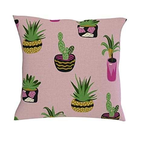 Funda de cojín de cactus con diseño de plantas, color rosa ...
