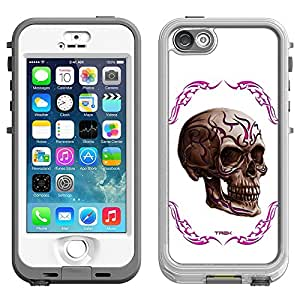 Skin Decal for LifeProof Nuud Apple iPhone 5 Case - Pink Tattoo Skull on White