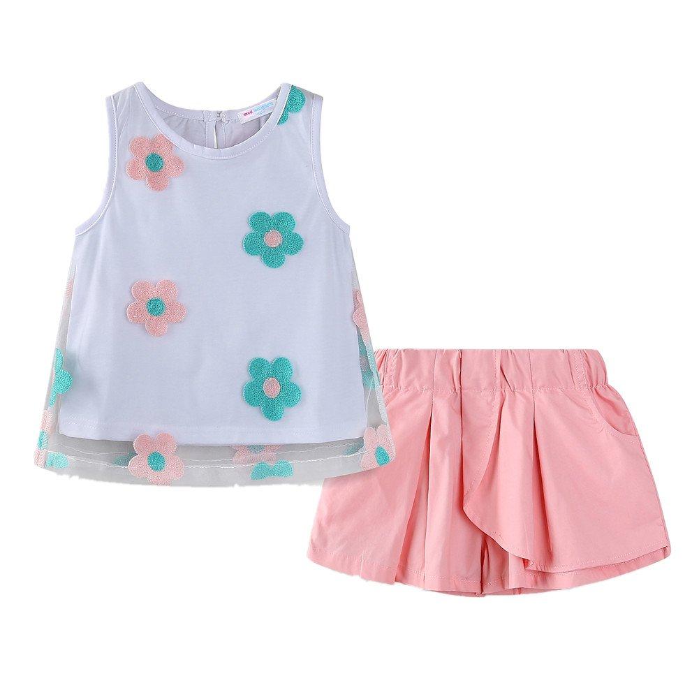 LittleSpring Little Girls' Clothing Set Flower LZ-T0460