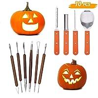 Lulu Home Halloween Pumpkin Carving Kit, 11 Pieces Professional Pumpkin Cutting Supplies for Jack-O-Lanterns with Bag