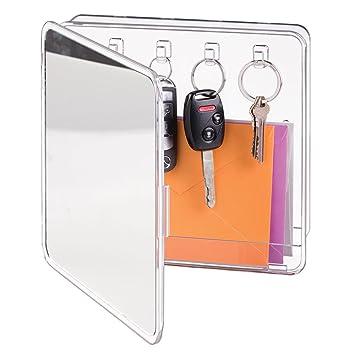 mDesign - Organizador porta cartas y porta llaveros, con espejo; para recibidor, cocina - de pared - Claro