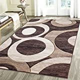 Contemporary Circles Geometric Emerald Collection Carved Area Rug by Rug Deal Plus (7'11'' x 10'4'', Brown/Beige)