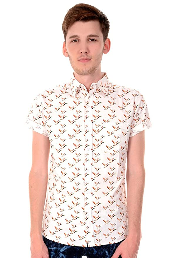 1960s – 1970s Mens Shirts- Dress, Mod, Disco, Turtleneck  60s 70s Indie Preppy Retro Flying Ducks Short Sleeve Shirt $34.95 AT vintagedancer.com