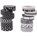 10m 12pcs Cinta Washi Serie En Blanco Y Negro Adhesivo Bricolaje Etiqueta De Papel 1.5cm