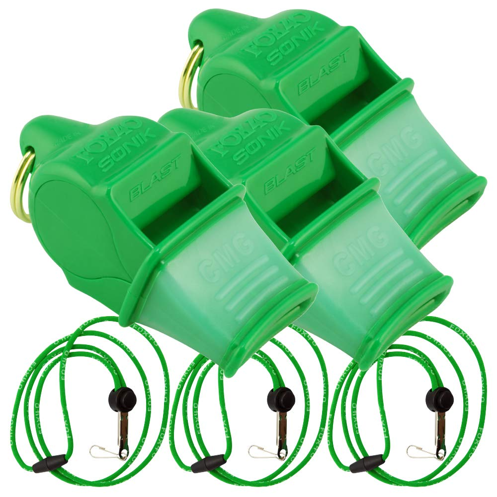 Fox 40 Sonik Blast CMG w/Breakaway Lanyard 3 Pack (Neon Green) by Fox 40