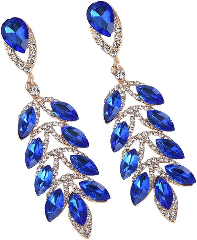 Joyfeel buy Arete de Cristal Artificial Elegante Pendiente aretes Largos de Mujer Pendiente Colgante con Forma de Hojas Azul (1 par)