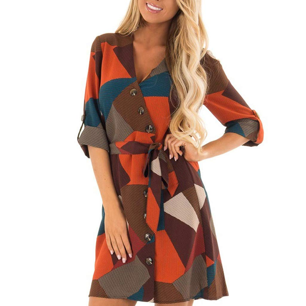 Mnyycxen Women's V-Neck Long Sleeve Printing Dress Button Sundress Maxi Boho Casual Mini Dress (S, Orange)