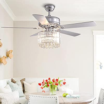 Buy Crossio Silver Chandelier Ceiling Fan 5 Wood Blades Modern Fandelier Elegant Crystal Iron Fan With Light Home Decoration For Bedroom Living Room 52 Online In Poland B08rc1d3pd