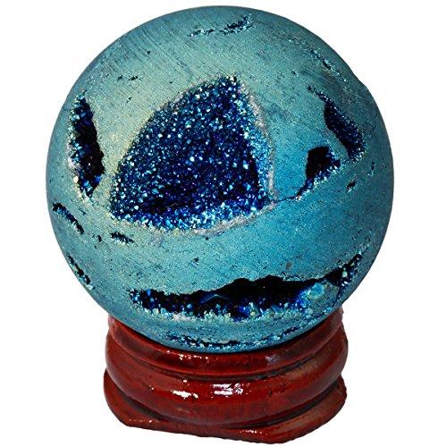 SUNYIK Lake Blue Titanium Coated Druzy Geode Sphere Ball,Crystal Quartz Agate Gemstone Ball,Sculpture Figurine (Agate Sculpture)