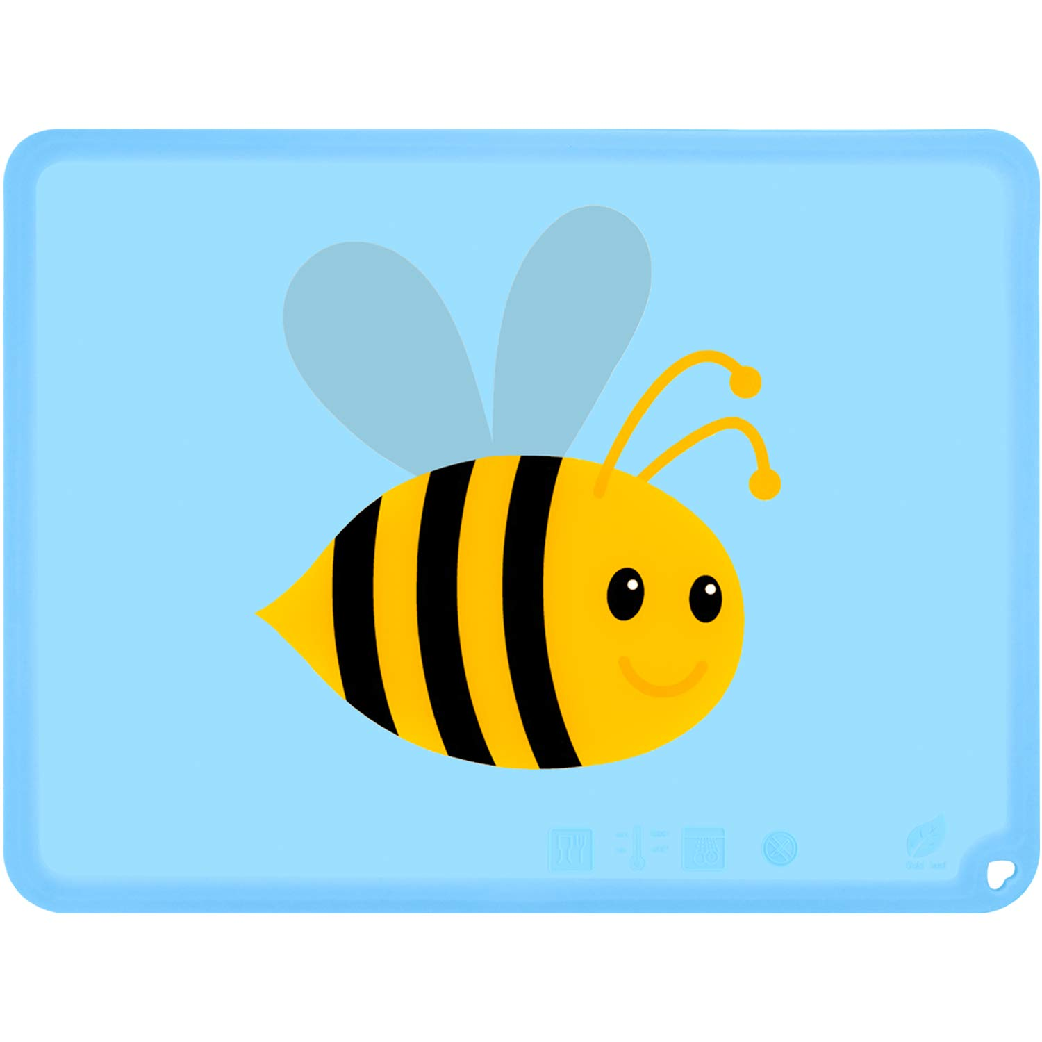 Cute Silicone Kids Placemat, BPA Free Placemats for Kids, Non-Slip Food Mat for Baby Toddler (Bee, Baby Blue)