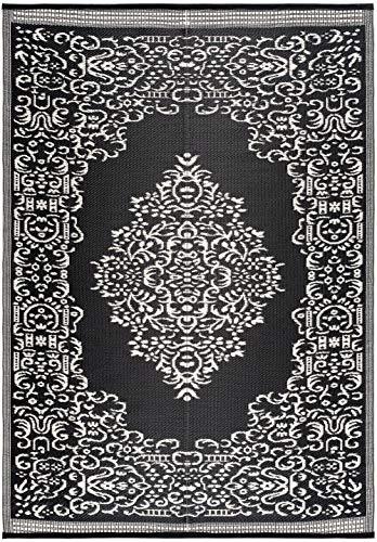 Lightweight Indoor Outdoor Reversible Plastic Area Rug - 5.9 x 8.9 Feet - Medallion Oriental Design - Black/White (White Area Target Black And Rugs)