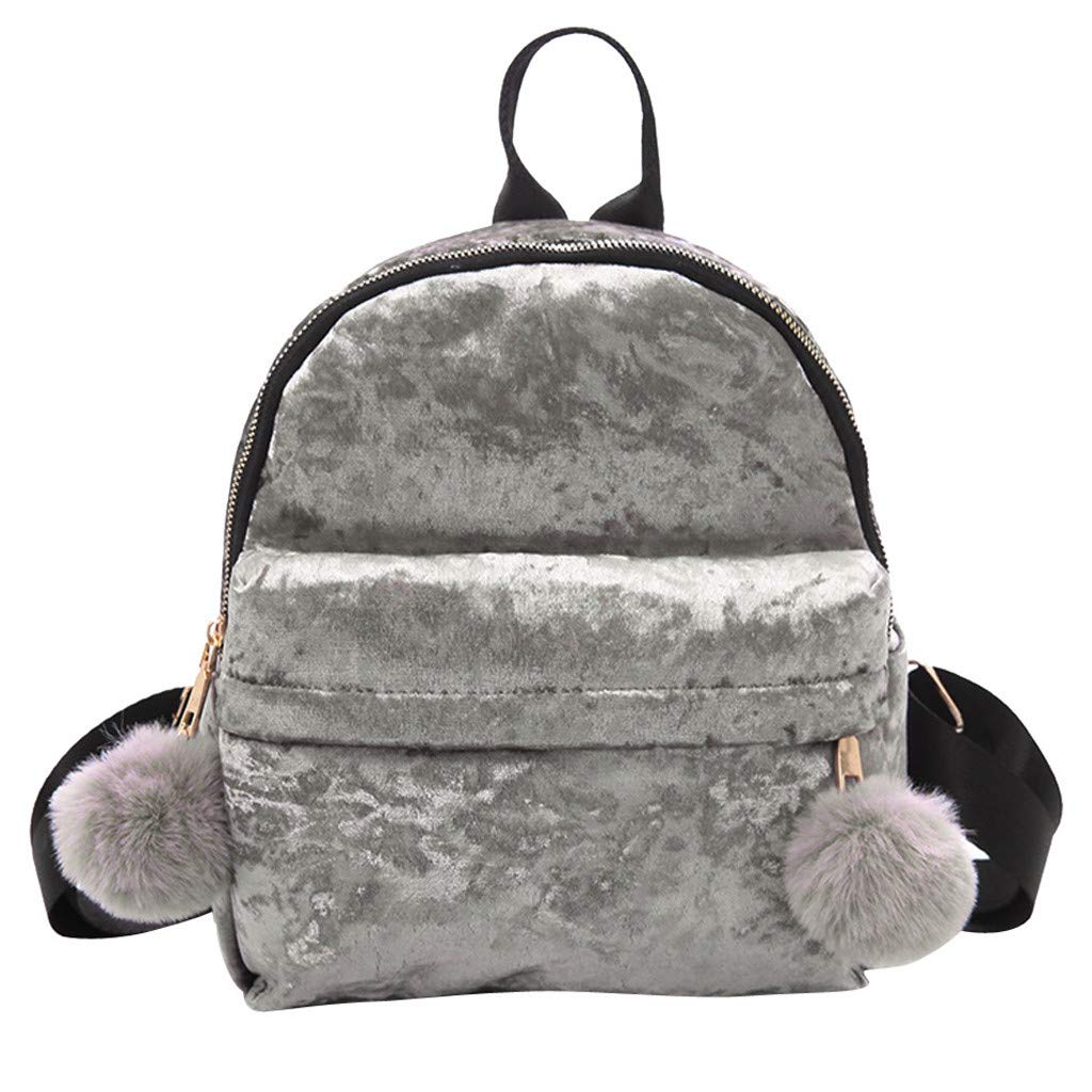 Newest Arrival!! ZOMUSAR Women Girls Fashion Velour Mini Backpack Shoulder Bag Solid Color School Travel Bags With Fur Ball (Gray) by ZOMUSAR