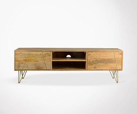 Mobile TV basso design legno e piedi metallo Tara - 160 cm: Amazon ...