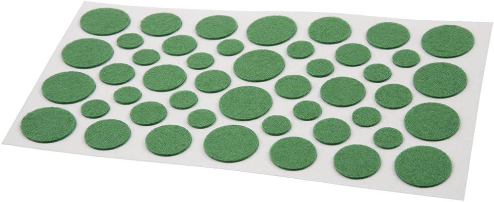 Soft Touch 4615095N Assorted Sizes Green Round Light Duty Felt Pads 46 Piece Set