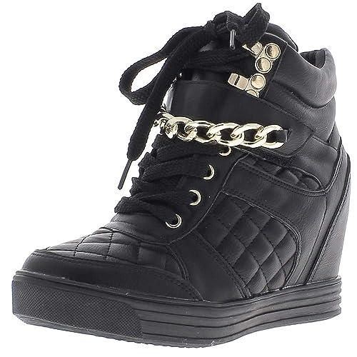 Levantamiento zapatillas cuña negros con tacón de 8cm - 40: Amazon.es: Zapatos y complementos