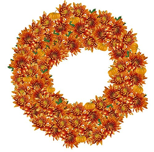 Wall Art Impressions Quality Prints - Laminated 24x24 Vibrant Durable Photo Poster - Crown Flowers Crown Flower Collage Background Decoration Orange Halloween Mums -