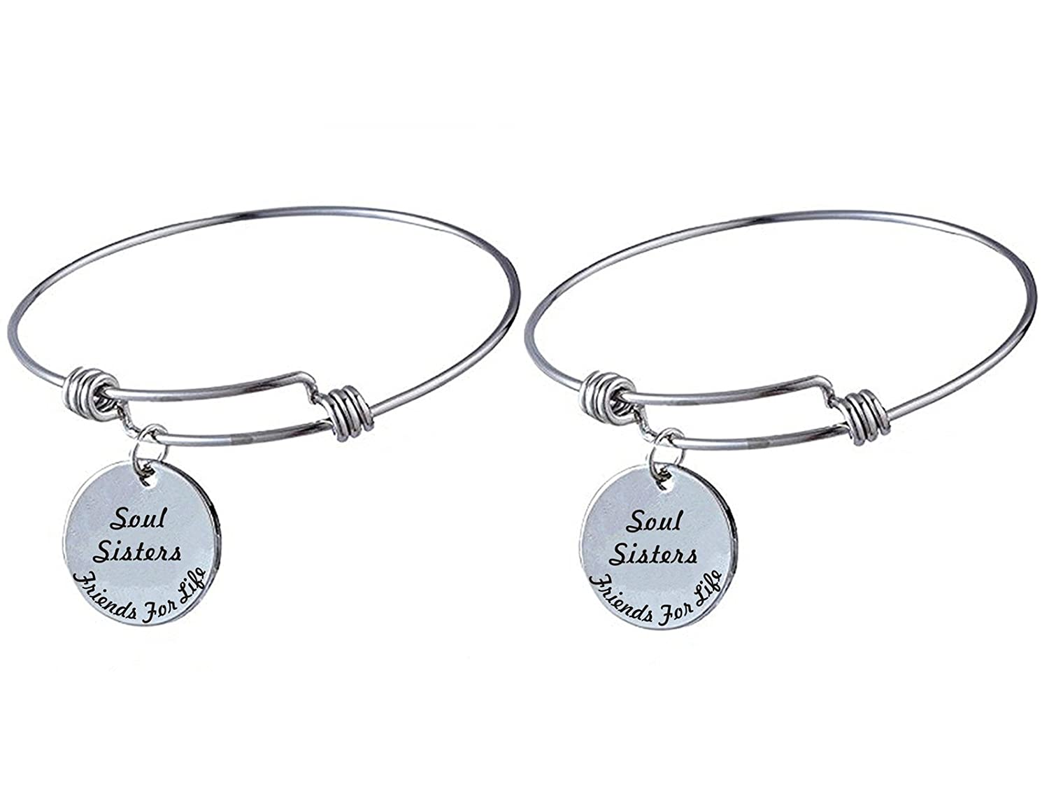 Set of 2 Soul Sisters Friends For Life Matching Stainless Steel Expandable Bracelets Jewelry Inspirational Gift for Best Friends Forever, BFF, Besties