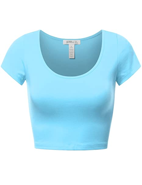 37e0fa6c Fifth Parallel Threads FPT Womens Basic Short Sleeve Scoopneck Crop Top  Aqua S