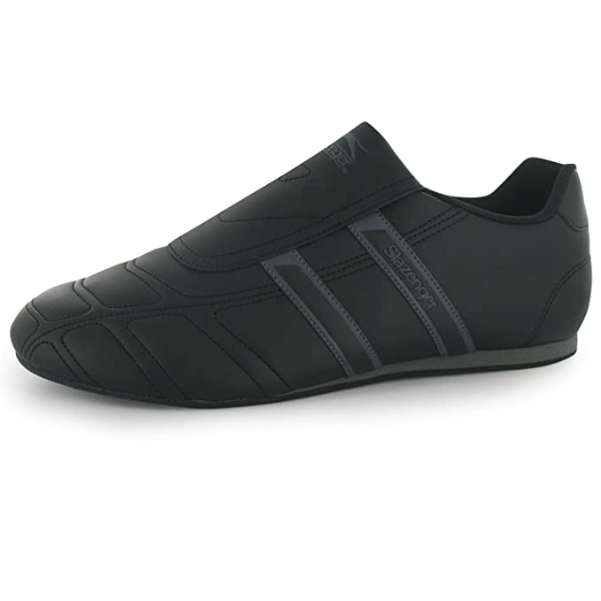1ea11d98191d5f Slazenger Mens Warrior Trainers Slip On Leather Sports Shoes Footwear Black Charcoal  UK 7 (