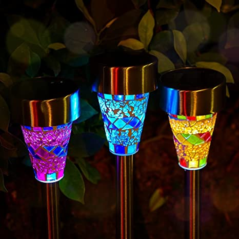 Superior Outdoor Solar Garden Lights   3 Pack Mosaic Solar Powered Stake Lights,  Solar Garden Stake