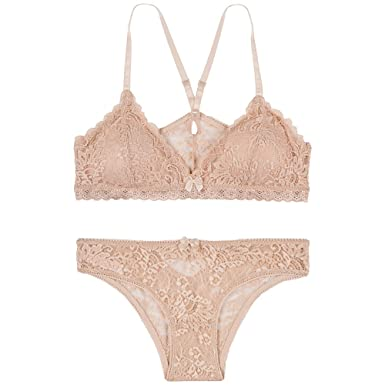 52e4c330ff276a Urban People Unlined Plunge Pullover Style X Back Straps Wireless Lace  Bralette and Pantie(Match