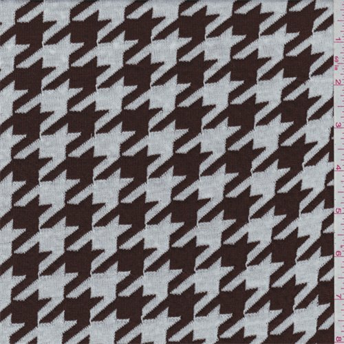 Brown/White Houndstooth Sweater Knit, Fabric By the Yard Houndstooth Upholstery Fabric