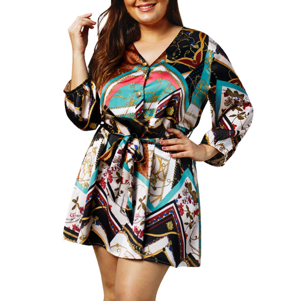 Oversize Women Fashion Casual Print V Neck Mini Dress Lady Long Sleeve Summer Resort Hallmark Party Dress