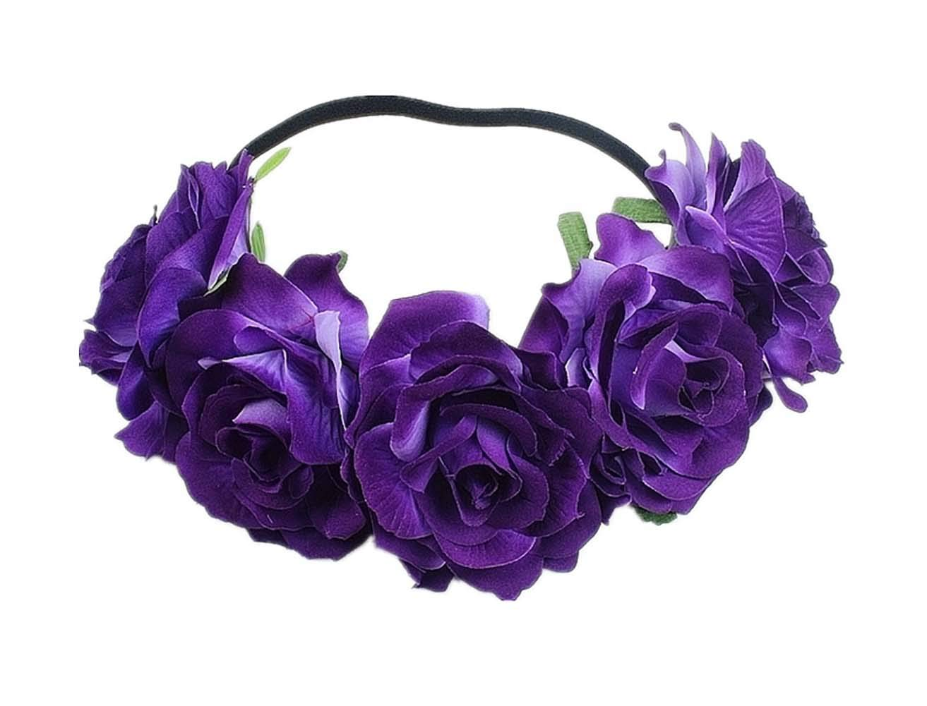 Love Fairy Bohemia Stretch Rose Flower Headband Floral Crown for Garland Party (Dark Purple)