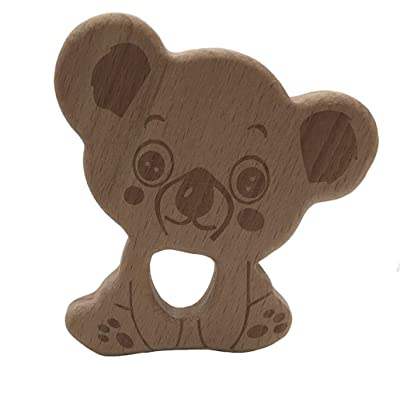 HAOWANG Animal Koala Baby Teether DIY Decoration Molar Food Grade Safe Wood Toy: Toys & Games